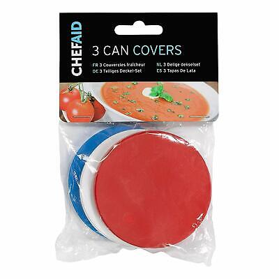 Keeps Food Fresh Chef Aid 3 Can Covers//Plastic Reusable Tin Lids Pet Food ets