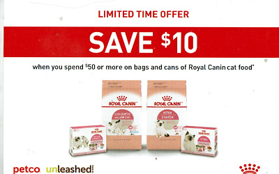 graphic about Petco Printable Coupon $10 Off $50 named 5 Discount codes- $10 Off $50 or a lot more Royal Canin Cat Meals Cans.Luggage Petco