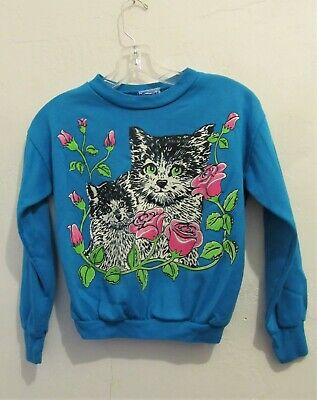A Girls Vintage 70's,Adorable Little Blue KITTY Sweatshirt By RONNIE TOGS usa.M
