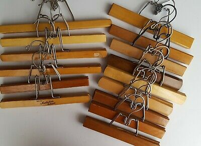 LARGE LOT of 15 Assorted Wood Hangers All Metal Clamp Wooden Skirts Snow Pants