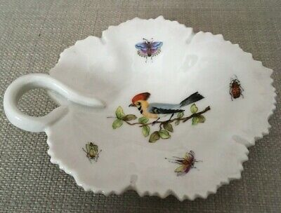 Pretty Porcelain Leaf Shaped Trinket Tray with Insects and Bird
