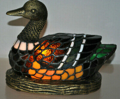 Vintage 2006' Crosa Stained Glass Duck Lamp Meyda Tiffany Style