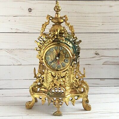 Vintage French Gold Gilt Mantle Clock HEAVY! Ornate Pierced Metal Antique Style