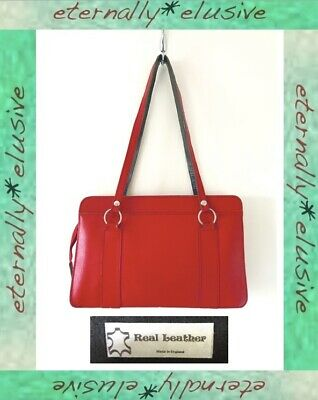 Vintage 60s 70s Red Genuine Real Leather Handbag Satchel Purse Bag Womens Ladies