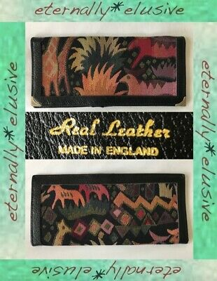 Vintage Black Real Leather Safari Animal Embroidery Tapestry Note Wallet Purse