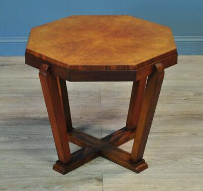 Attractive Small Vintage Art Deco Octagonal Walnut Side Occasional Table