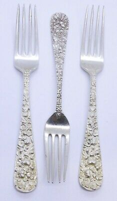 """Lot Set of 3 Stieff Rose 925 Sterling Silver 6-7/8"""" Dinner Place Fork MONO 1487"""