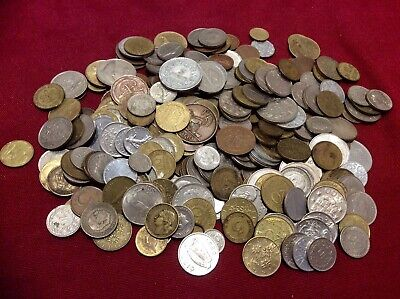 Job Lot 250+ Unchecked Antique Vintage Old Coin,Ireland,France,Italy,Spain,1kg+