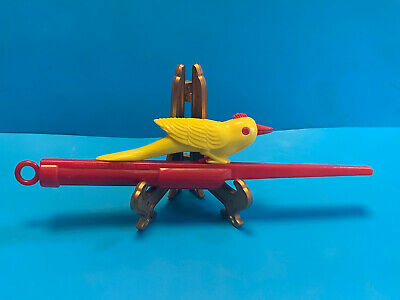 VINTAGE HARD PLASTIC Childs Yellow Bird Whistle Old Rare Toy