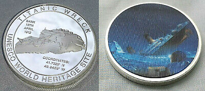 Titanic Silver 3D Coin Sinking Ship Sunk in 1912 Life Boat Ice Burg New York USA
