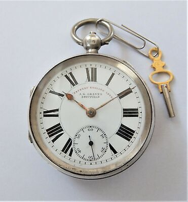 1900 Silver Cased English Lever Pocket Watch J G Graves Sheffield Working