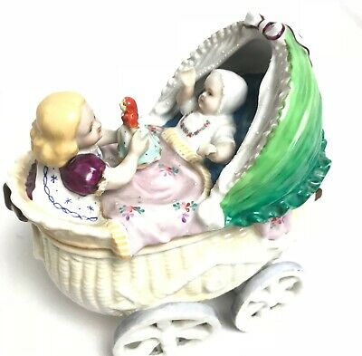 Old Antique Vintage China Victorian Edwardian Pram Doll Ornament