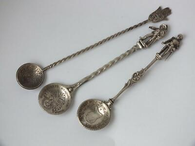 3 Antique Solid Silver Coin Bowl Spoons/ 46 g/ UNMARKED