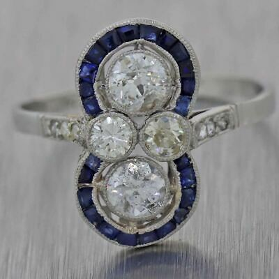 1920s Antique Art Deco Platinum 1.15ctw Diamond Sapphire Cocktail Ring
