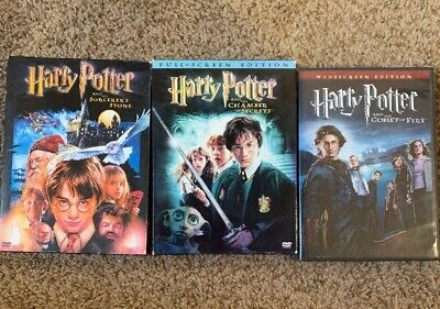 Harry Potter DVD's Lot of 3 Sorcerers Stone Chamber of Secrets Goblet of Fire