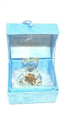 Mayflower Glass Collectables Teddy Bear Fathers Day Hand Made 22KT Gold in Box