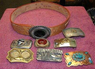 Vintage Lot of Eight (8) Belt Buckles and a Size 34 Leather Western Belt