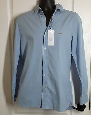 09a13a6fb8 LACOSTE MEN'S SLIM Fit Stretch Cotton Poplin Shirt in color Creek ~ Size S  ~NWT