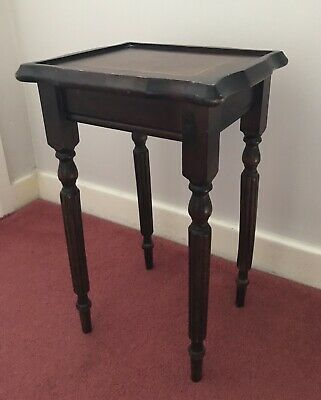 Vintage Antique Oak Plant Stand Jardiniere Carved Legs Inlay Top Edwardian