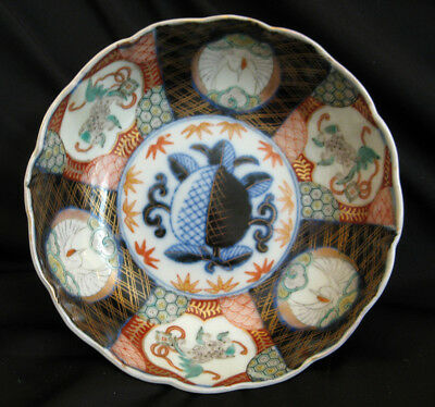 19/20C Antique Japanese Meiji Arita Imari Porcelain Bowl Dragon Crane Panels 7""