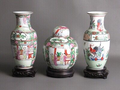 3 Vases Chinese Vintage Porcelain Eastern with Bases Wooden Period Xx Century