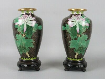 Art Eastern Chinese Couple Vintage Vases Enamel Cloisonne' on base Wood