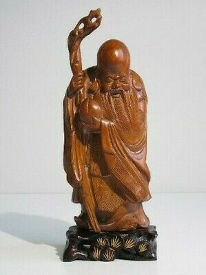 Vintage Statue Chinese Sculpture Wooden Man Wise with Stick Xx Century