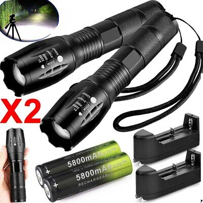 90000LM Tactical T6 Zoomable LED Flashlight Torch Light + 18650 Battery Charger