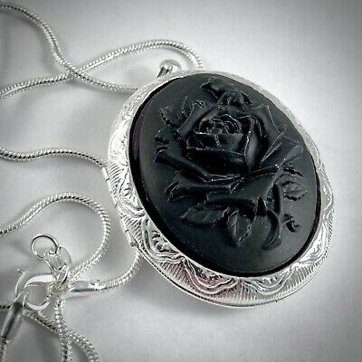ROCKABILLY WEDDING  MEDIEVAL LARPING RED ROSE VICTORIAN Cameo Necklace PIN UP