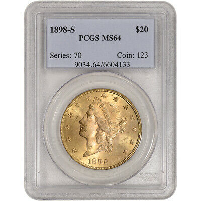 1898-S US Gold $20 Liberty Head Double Eagle - PCGS MS64
