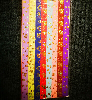 8 color comb with gloden pattern ORIGAMI LUCKY STAR PAPER - more than 50 pieces