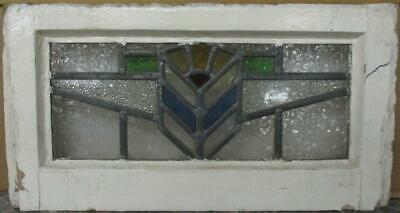 "OLD ENGLISH LEADED STAINED GLASS WINDOW Gorgeous Tiny Geometric 17"" x 9"""
