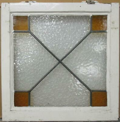 "OLD ENGLISH LEADED STAINED GLASS WINDOW Awesome Geometric Design 20.5"" x 20.5"""