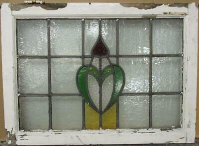 "MIDSIZE OLD ENGLISH LEADED STAINED GLASS WINDOW Pretty Crest Design 24.5"" x 18"""