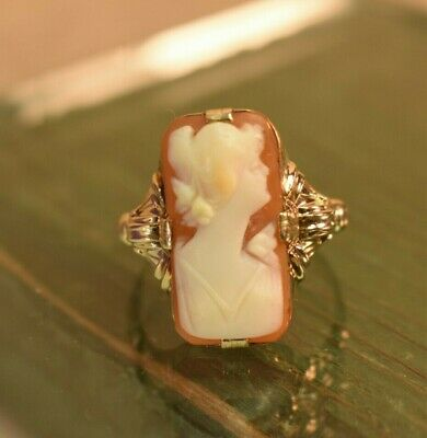 Estate antique Victorian 10K gold carved shell cameo ring sz 6.8