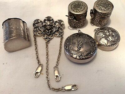 Vintage Old Store Stock Sterling Chatelaine Sewing Items And Snuff Box 3 Day Nr