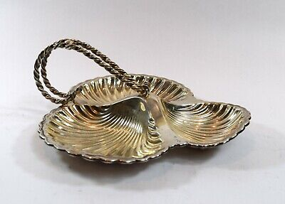 Vintage Mapping & Web Silver Plated Divided Seashell Tray With Handles