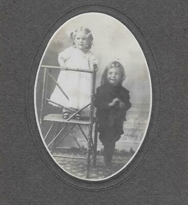 Cabinet Card Photo Cab86 2 Happy Smiling Siblings Posing In Cute Outfits