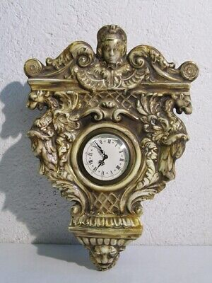 Antique Wall Clock in Ceramic with Dragons & Head Angel Period Xx Century
