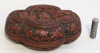 20th Century Chinese Qianlong-Style Molded Cinnabar Quatrefoil Box with Figures