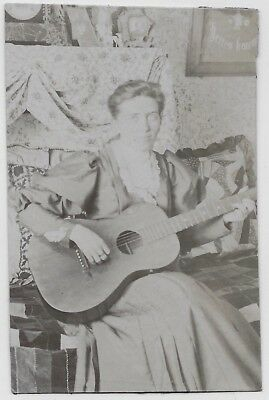 Old Photo Woman Playing Guitar Quilt Pillows Sitting On Crazy Quilt Late 1800S
