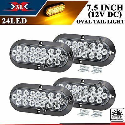 "4 X 24 LED 6"" Oval Clear Lens Amber 12V Surface Mount Turn Tail Light Trailer RV"
