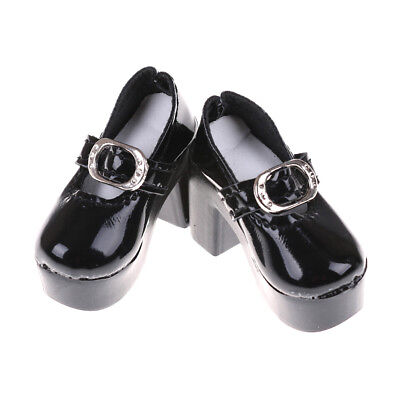 1pair Black PU Leather 1/4 Doll Shoes for 50cm  Dolls Accessory 6.3cm Fad US