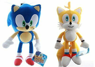 """NEW Large Set of 2 Sonic the Hedgehog + Tails 12"""" Plush Licensed Kids Toys. NWT."""