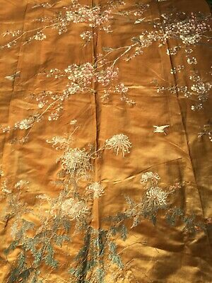 ANTIQUE LATE 19th c JAPANESE MEIJI EMBROIDERED PANEL EMBROIDERY CHINESE 219 cm!