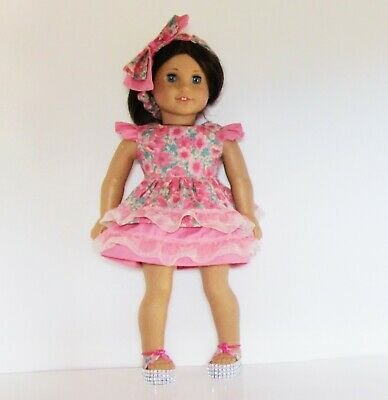 3 Piece Dress, Shoes, Headband Outfit Fits American Girl Doll Clothes 18 inch