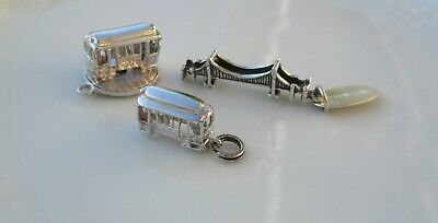 VTG Lot of 3 Sterling Silver SAN FRANCISCO Tourist Charms ~ Bridge Cable Cars