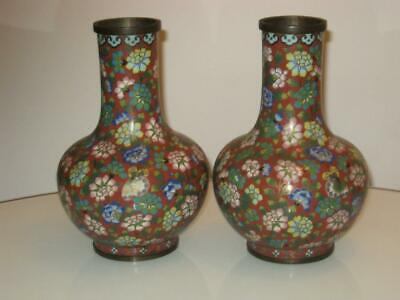 STUNNING PAIR OF ANTIQUE 19th CENTURY CHINESE CLOISONNE BOTTLE VASES