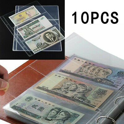 10 Sleeves Album Pages 3 Pockets Paper Money Note Currency Holder Collection UK