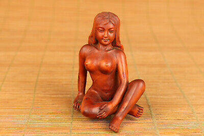 chinese old boxwood hand carved girl statue netsuke collectable ornament